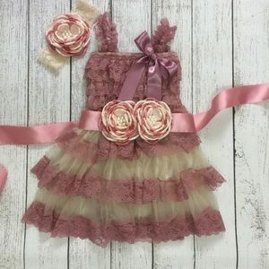 Other - NEW Dusty pink 3 pc toddler dress